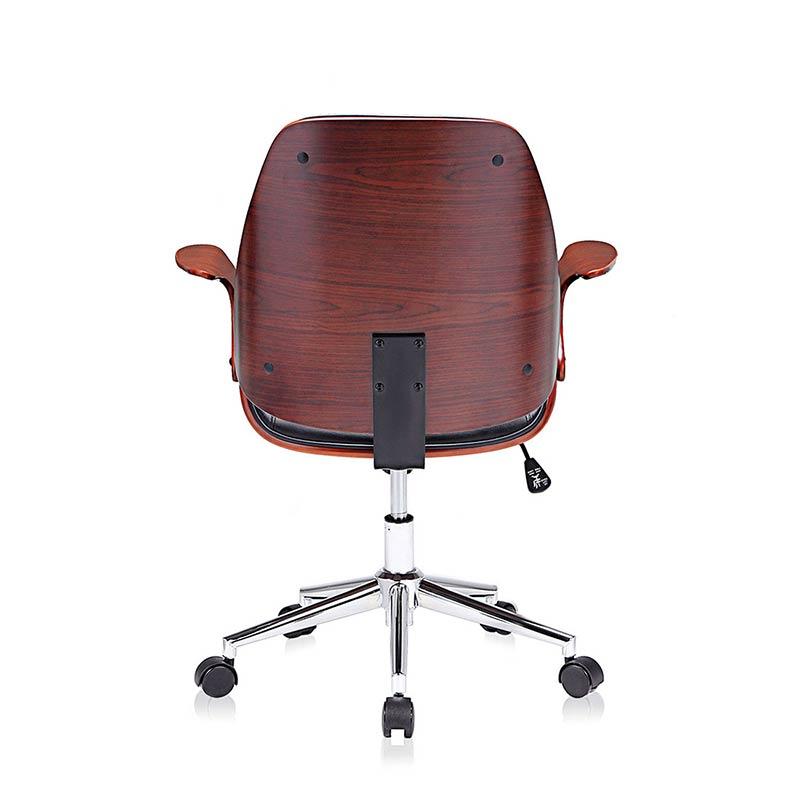 schwarz-braun-Sadie-Design-Stuhl-Retro-Büro-Hocker-Esszimmerstuhl-Vintage-Bürostuhl-Kunstleder6